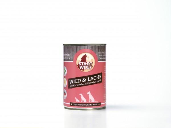 Wild & Lachs mit Kartoffeln, Möhren & Rapsöl