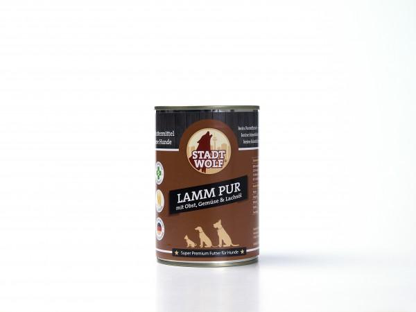 Lamm Pur mit Obst, Gemüse & Lachsöl